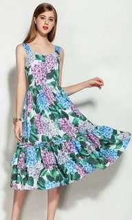 Runway Hydrangea Flower Printed Dress (sale)