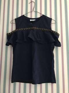 Navy blue cold shoulder top