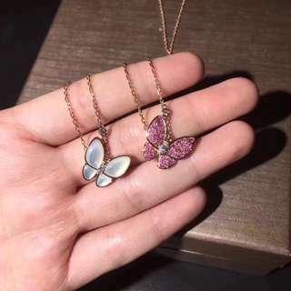 Van Cleef & Arpels 白貝及粉紅藍寶石蝴蝶項鏈