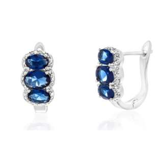 Blue Sapphire and Diamond Accent Earrings