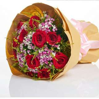 Fresh Flower Bouquet Anniversary Birthday Flower Gifts Graduation Roses Sunfowers Baby Breath -  73177     58