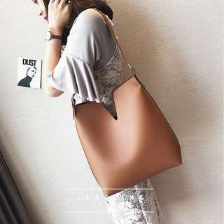🚚 【週末女孩】歐美簡約時尚PU皮革大方包 大容量仿皮肩背包子母包 多色可選 BG146