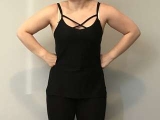 Black workout / activewear top with stroppy Detail and texture