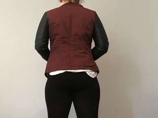 Black burgundy pleather jacket coat