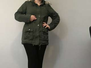 Green parka coat