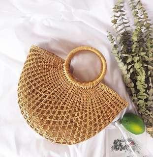 Half Moon Woven Straw Bag (preorder)