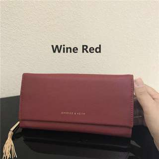 Charles & Keith Wallet tassel long fold over