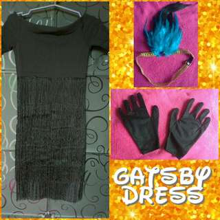 👗 H&M Black Gatsby Off Shoulder Dress with Headdress and Gloves
