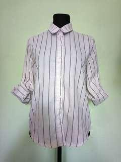 White Korean Long Sleeve Blouse