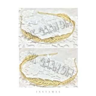 歐美款優雅金屬羽毛拼出髮箍髮飾#飾物#耳環#耳夾#頸鍊#項鍊#手鍊#髮夾#髮飾#戒指#清貨#清倉#特賣#禮物#優惠#韓款#日系#百搭#可愛#歐美#necklace#bracelet#earrings#hairpin#accessories#cute#happy