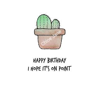 Digital Download: Cactus Pun Birthday Card Print