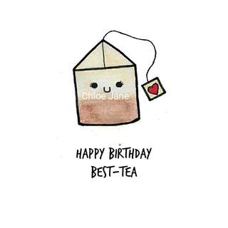 Digital Download: Tea Bag Bestie Pun Birthday Card Print