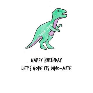 Digital Download: Dinosaur Pun Birthday Card Print