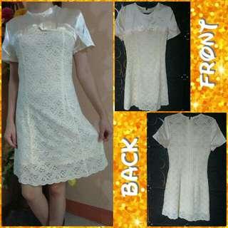 👗 Cream Silk with Lace  Dress