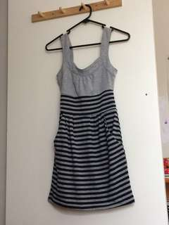 Navy and Grey Striped Dress
