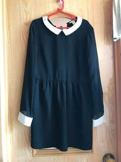 Forever21 black long sleeve chiffon dress with white collar