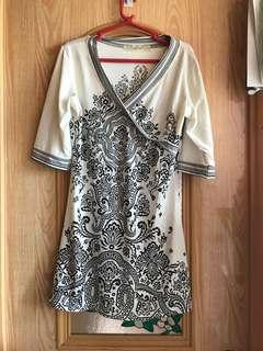 Boho black & white printed dress