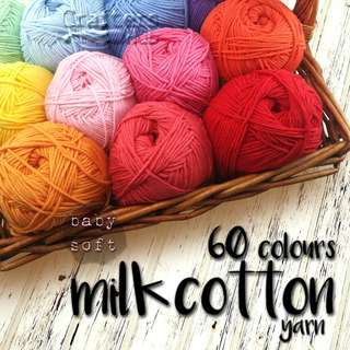 🚚 5-ply baby soft milk cotton yarn (100g / skein) for crochet, knitting, DIY, craft, handmade, baby accessories, tassel, embroidery, string art, sashiko, hats, scarves, amigurumi, blankets, soft toys, decor