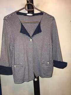 Striped Stretchy Crop Blazer