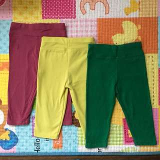 Baby Leggings - Set of 3 Plain Colours (Maroon, Mustard and Green)