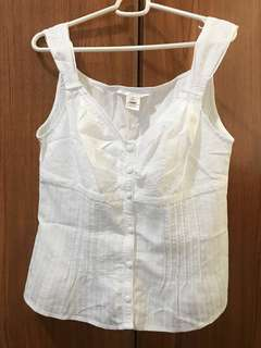 REPRICED!!! White House Black Market Pleated Sleeveless White