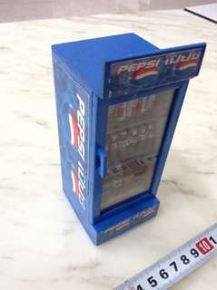 Rare Pepsi Cola collectible miniature fridge stocked with drinks. Not coke.