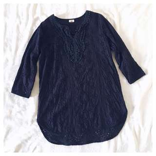 eyelet long top/resort cover up (S)