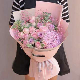 Fresh Flower Bouquet Anniversary Birthday Flower Gifts Graduation Roses Sunfowers Baby Breath -  1DC77     199