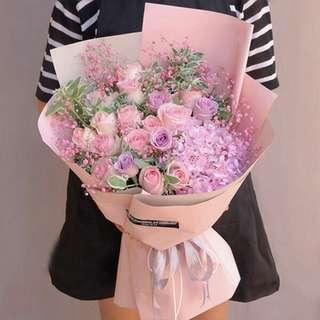 Fresh Flower Bouquet Anniversary Birthday Flower Gifts Graduation Roses Sunfowers Baby Breath -  1DC77     199