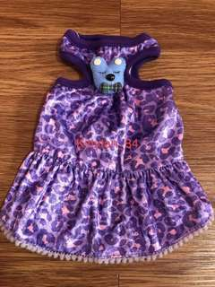 Purple Leopard Rabbit With Bow Size 0 Brand New Dress For Dog / Rabbit / Small Animal  / Pet Clothes