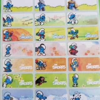 Smurf name sticker labels