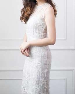 Callyline lotus dress Lace white grey S