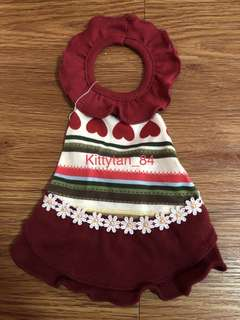 Dark Red Halter Round Neck Size 0 Brand New Dress For Dog / Rabbit / Small Animal / Pet Clothes