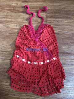 Red Square Hole Halter Neck Size 1 Brand New Dress For Dog / Rabbit / Small Animal / Pet Clothes