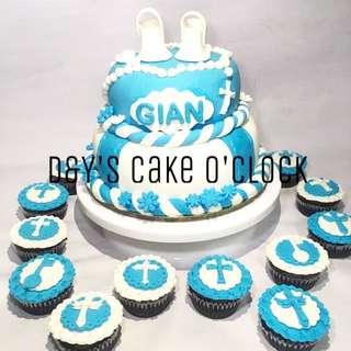 CHRISTENING FONDANT CAKE