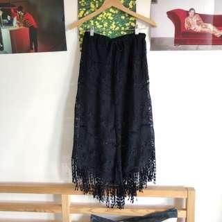 Festival black crochet maxi skirt