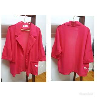 🚚 桃紅色開襟長版西裝外套