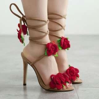 Elegant Fashion Appliques Bandage Stiletto Pumps