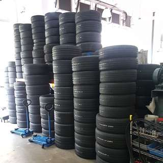 New tyre and used tyres