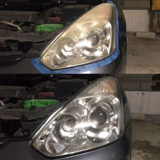 Toyota Wish headlight restoration