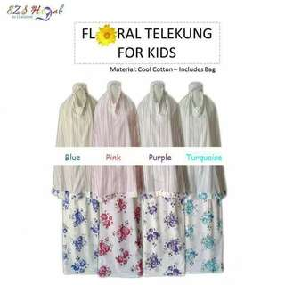 Little Muslimah Rosy Telekung with Matching Bag