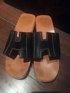 REPRICED authentic black Hermes shoes sandals leather wood H slip ons