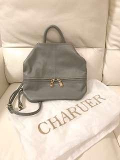日本小眾貴牌Charuer全新真皮牛皮氣質灰色2-way小背包