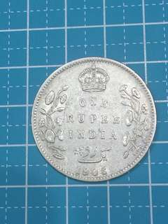🔥Clearance🔥British India  KE VII Silver Coin One Rupee Year 1906