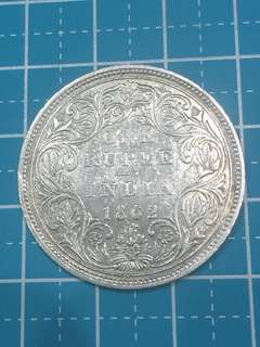 🔥Clearance🔥British-India Queen Victoria Silver Coin One Rupee Year 1862