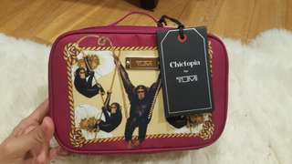 TUMI Limited Edition Chictopia Laval Monkeys Travel/Make Up Bag