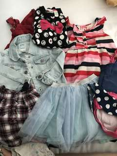 Bags of Toddler Girls (between 12months - 36months) outfit (between 40–50 pieces consisting of dresses, pjs, tops,bottoms,etc)