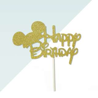 Happy Birthday Disney Mickey Font Gold Glitters Cake Topper
