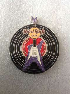 Hard Rock Cafe Pins - HOUSTON HOT 2015 BLACK VINYL RECORD WITH GUITAR PIN!