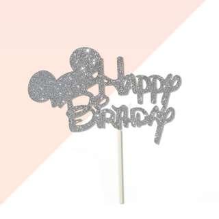 Happy Birthday Disney Mickey Font Silver Glitters Cake Topper